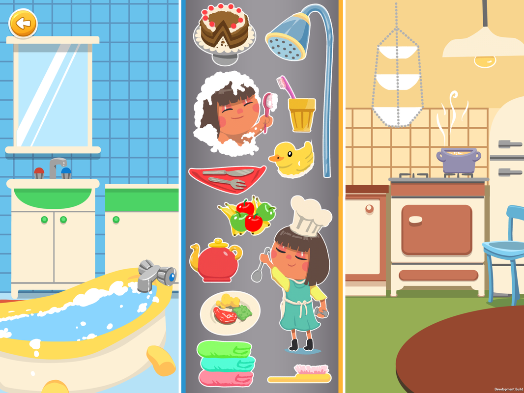 sorting games, contextually sort by room, bathroom, kitchen, teapot, cake, shower,rubber duck,ducky,cooking, taking bath, toothbrush, brush,towels