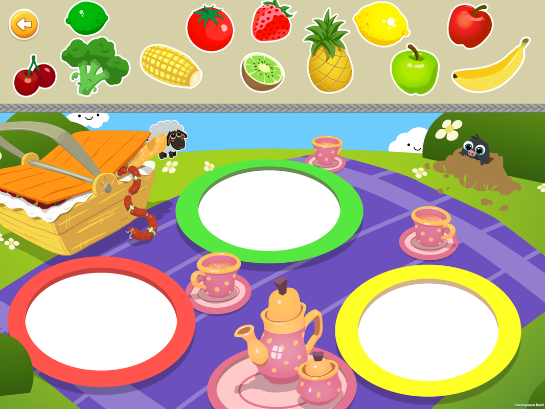 Sorting Games, Level 5, Classify fruits and vegetables by Color