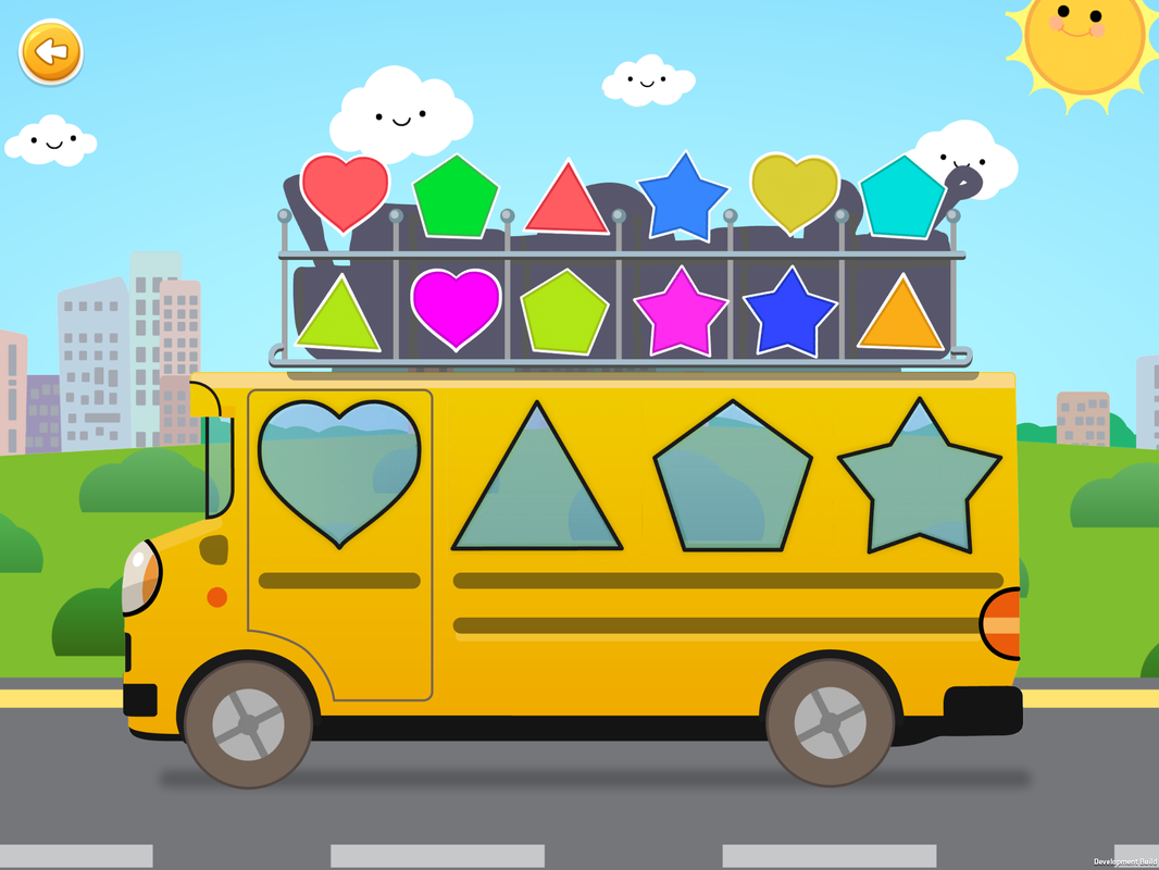 Sorting Games, Classify by shapes, school bus, heart, pentagon, triangle, star