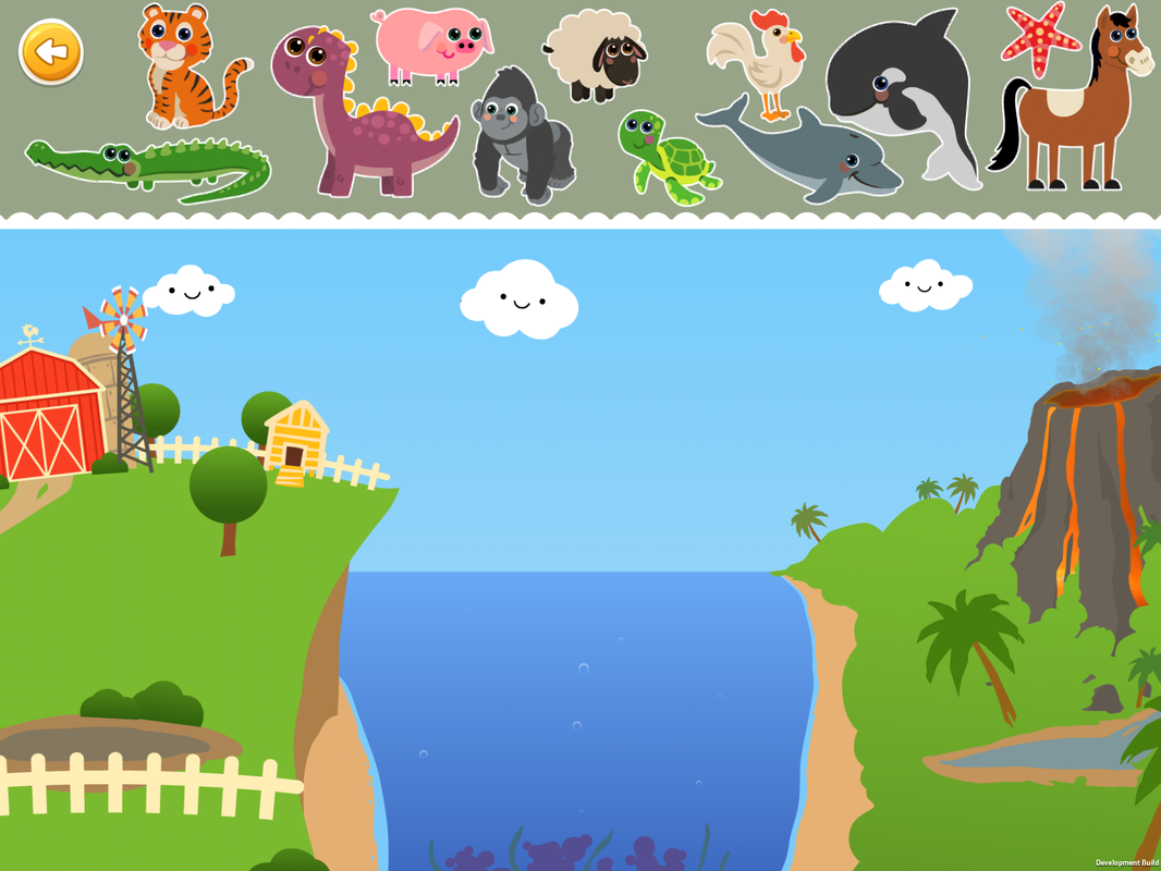 sorting games, classify by animals by their habitat,tiger,dragon,crocodile, aligator,pig,sheep,gorilla,turtle,rooster,dolphin,whale,star fish, horse,farm,jungle,volcano,ocean