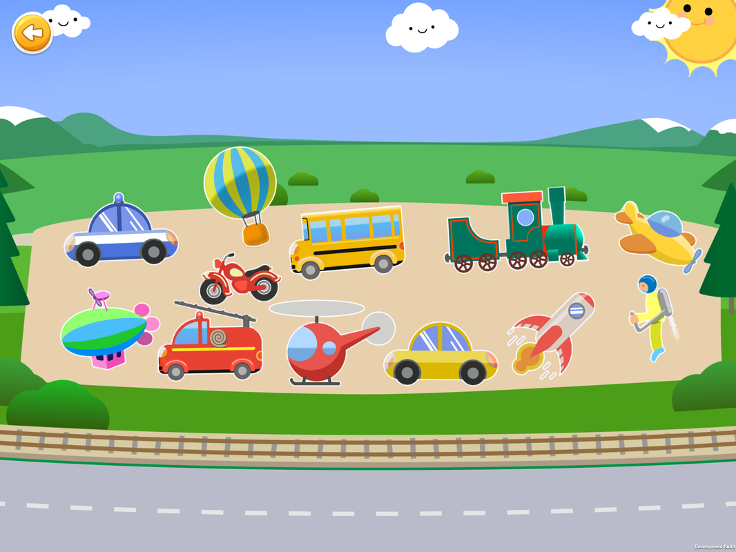 Sorting games, classify different vehicles,police car, hot air balloon, school bus, train, airplane, blimp, motorcycle, fire truck, helicopter,car,rocket,jet pack